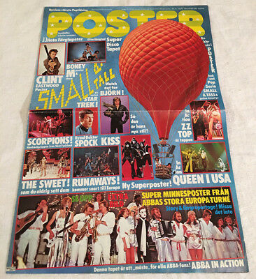 Poster Cover #4-1977 Queen Swedish Poster Magazine 1970s Vintage