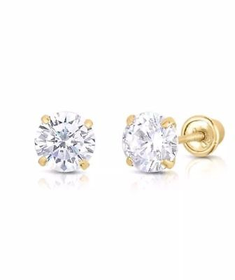 1Ct Created Diamond 14K Yellow Gold Brilliant Cut Screw Back Stud Earrings 4mm