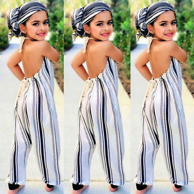 AU Toddler Kid Baby Girl Sleeveless Romper Jumpsuit Summer Cotton Outfit Clothes