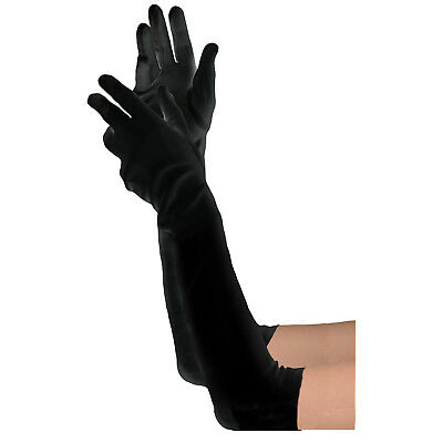 Long Black Gloves - Women's Extra Long Satin Gloves-20s Costume Party Accesories
