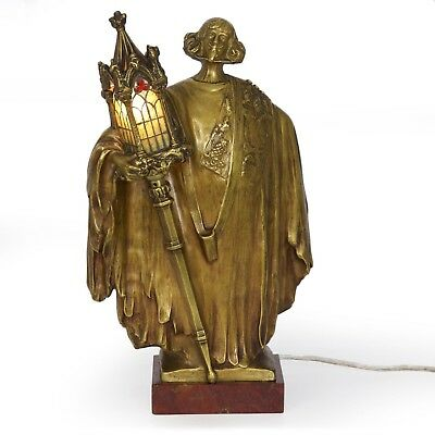 Rare French Art Nouveau Bronze Sculpture Table Lamp by Léo Laporte-Blairsy
