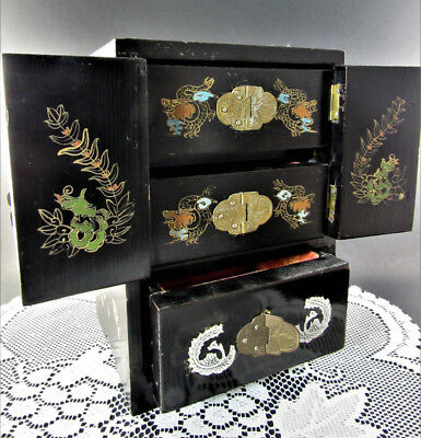 Vintage Asian Oriental Wooden Hand Painted Jewelry Box (C29)