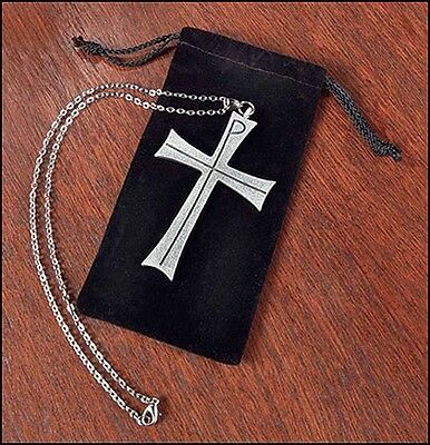 "Latin Pectoral Cross Clergy w Pouch Pewter Greek Chi Rho (KC309) 3 1/2"" 32"" Long"