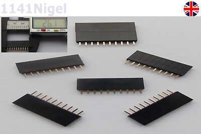 10 Pin Header 2.54mm 1x10 Single Row PCB Socket Female ... ..     (Pack of 2-10)