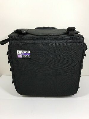 Crop In Style XXL Rolling Tote Black for Crafts Art