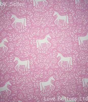 JOHN LOUDEN PINK UNICORN AND FLOWERS FABRIC 100/% COTTON 112CM WIDE PER METRE