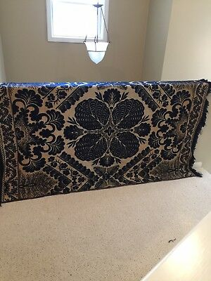 ANTIQUES 1800's NAVY AND CREAM LARGE WOOL COVERLET, EXCELLENT CONDITION