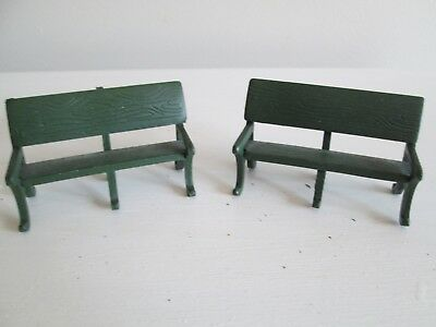 Vintage Department 56  Green Cast Iron Park Benches Set of 2 51098