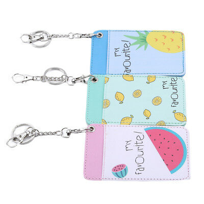 Cartoon Girls Pocket Vertical PU Leather ID Badge Holder Wallet Keychain G