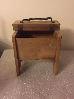 Antique Wooden Shoe Shine Box With Cast Iron Foot Rest Hinged Lid
