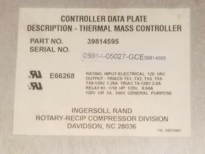 Ingersoll Rand 39814595 Thermal Mass Controller