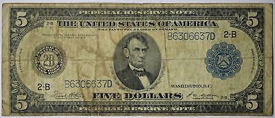 $5 1914 FR. 851A Large Size Federal Reserve Note New York Blue Seal