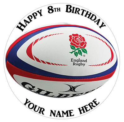 England Rugby 75 Inch Round Edible Cake Topper Decoration PRECUT