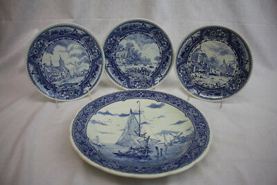 Lot of 4 Vintage Nautical Blue and White BOCH Belgium Delft Decorative Plates