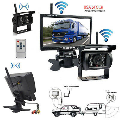 """12V-24V Dual Wireless 7"""" Monitor Backup Camera Rear View System For Truck RV Bus"""