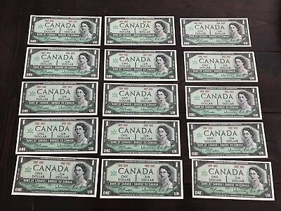 Lot Of 15 1867 1967 $1 Bank Of Canada Note Bills Great Condition