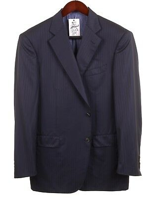 Pal Zileri Sartoriale Navy Blue Silk Wool Tonal Stripe Sport Coat Jacket 44