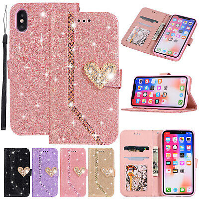 Luxury Glitter Magnetic Leather Wallet Case Cover For iPhone XS Max XR 8 7 Plus