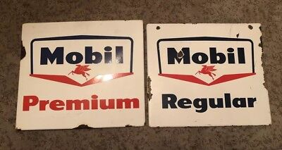 Vtg Mobil Gas Signs Gasoline Pump Plate Pair Porcelain Premium-Regular 1950s 60s