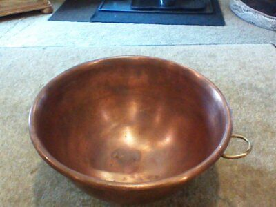 """Vintage 10""""  Heavy Solid Copper Egg White Mixing Bowl With Brass Ring 5"""" deep"""