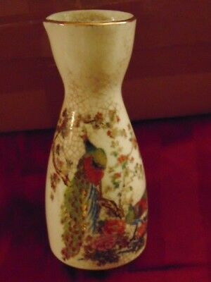 Antique Hand Painted vase with Peacocks Small Asian Antique Cravat,Antique Vase