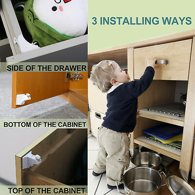 4x Baby Magnetic Cabinet Drawer Cupboard Locks for Kids Child Safety Proofing US
