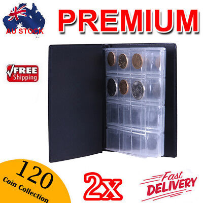 2x 120 Coins Holder Collection Album Storage Money Penny Book Collecting Pockets