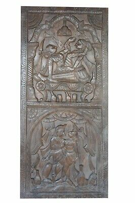 WOOD Carving Kamasutra Barn Door Vintage Indian WALL PANEL ECLECTIC SHABBY CHIC