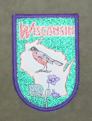 VINTAGE WISCONSIN STATE PATCH / Embroidered Badge featuring ROBIN & VIOLET