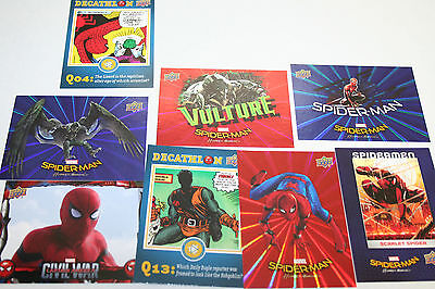 2017 Upper Deck Marvel Spider-Man Homecoming Inserts Blue, Red lot of 8