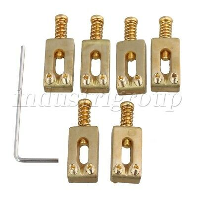 6Pcs Brass Electric Guitar Bridge Saddles Golden with Wrench 30x10x6mm