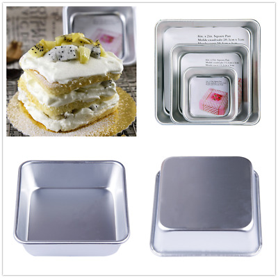 4/6/8inch Square Cake Pan Tins Aluminum DIY Baking Mold Mould Tray Bakeware