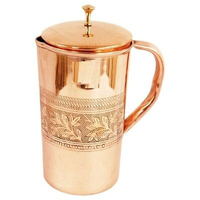Pure Copper Smooth Water Jug/Copper Pitcher for Ayurveda Health Benefit 100% NEW