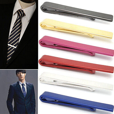 New Men Silver 4CM Slide On Tie Bar Stainless Steel Clasp Pin Wedding Clip LS