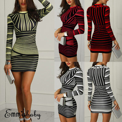 c4d2118cdc5 US Sexy Women Bodycon Long Sleeve Stripe Evening Party Cocktail Club Short  Dress