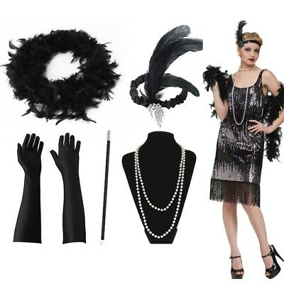 Ladies Gatsby Flapper 1920s Roaring 20s Charleston Girl Fancy Dress Accessories