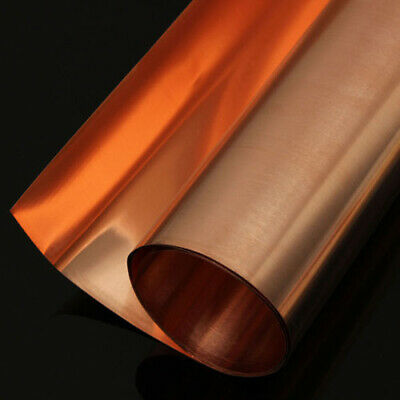 New 99.9% Pure Copper Sheet Plate Options 0.1mm,0.2mm,0.5mm Thick 100,1000mm