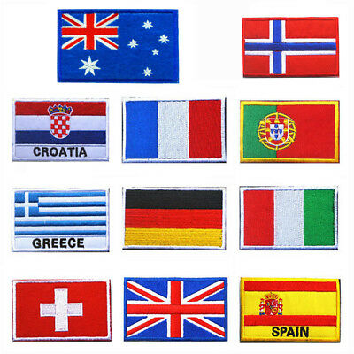 Lots National Flag Embroidered Patch Sew Cloth Shoulder Badge Australia
