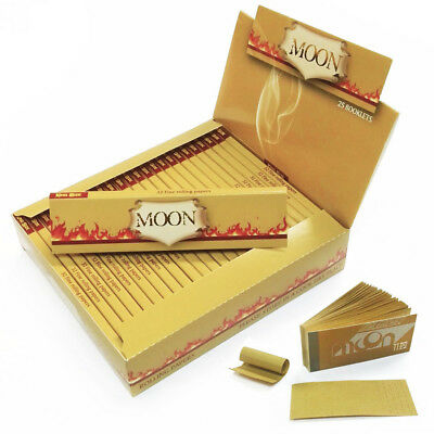 MOON Unbleached Rolling Papers 108*45mm 25 Booklets=800 leaves smoking & Tips