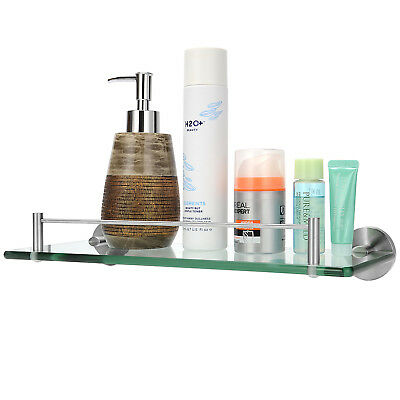 Bathroom Glass Shelf with 304 stainless steel and Tempered Glass Wall Mount rack