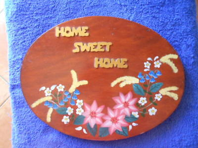"Pine Stained Handpainted Oval Floral ""home Sweet Home"" Plaque"