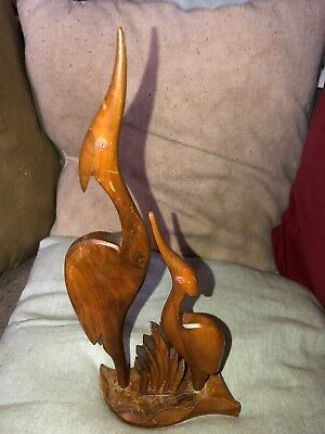 Stylish Mid 20th Century Teak Wooden Figural Group Adult & Young Stork/Pelican