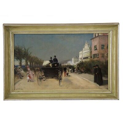 Antique Oil Painting of Nice, France by Gabriel E. Nicolet(French, 1856-1921)