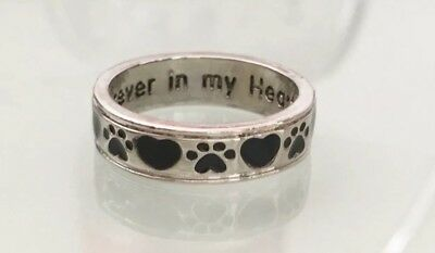 Paw Print Pet Dog Cat Memory Always Heart Forever Ring Silver Plated Size 60