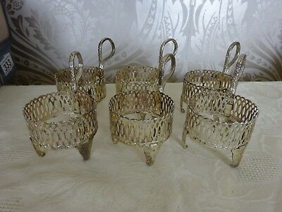 Vintage retro Set of 6 Demi Tasse Queen Anne Silver Plated Coffee Can Holders