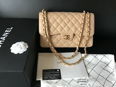 e8255dbe127094 NIB 100%AUTH CHANEL Classic Beige Clair Caviar Quilted Flap Jumbo Bag Gold  HDW