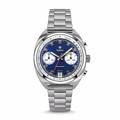 New Zodiac Zo9601 Swiss Grandrally Chronograph Men's Watch-Stainless Steel Band
