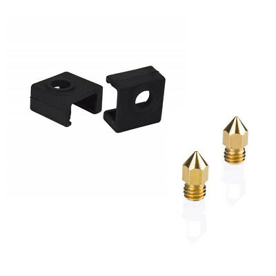 2Pcs Heater Block Silicone Cover + 2Pcs 0.4mm Nozzle For Creality Ender 3 CR-10S