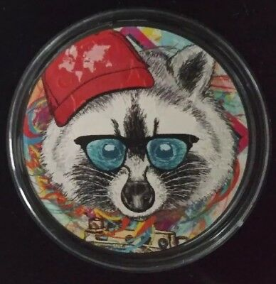"""2017 CANADA MAPLE LEAF """"HIPSTER RACOON"""" Colorized 1oz .9999 Silver - Box and COA"""
