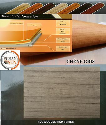 covering adhesif BOIS CHENE GRIS - thermoformable - ( largeur de : 1.22 m)
